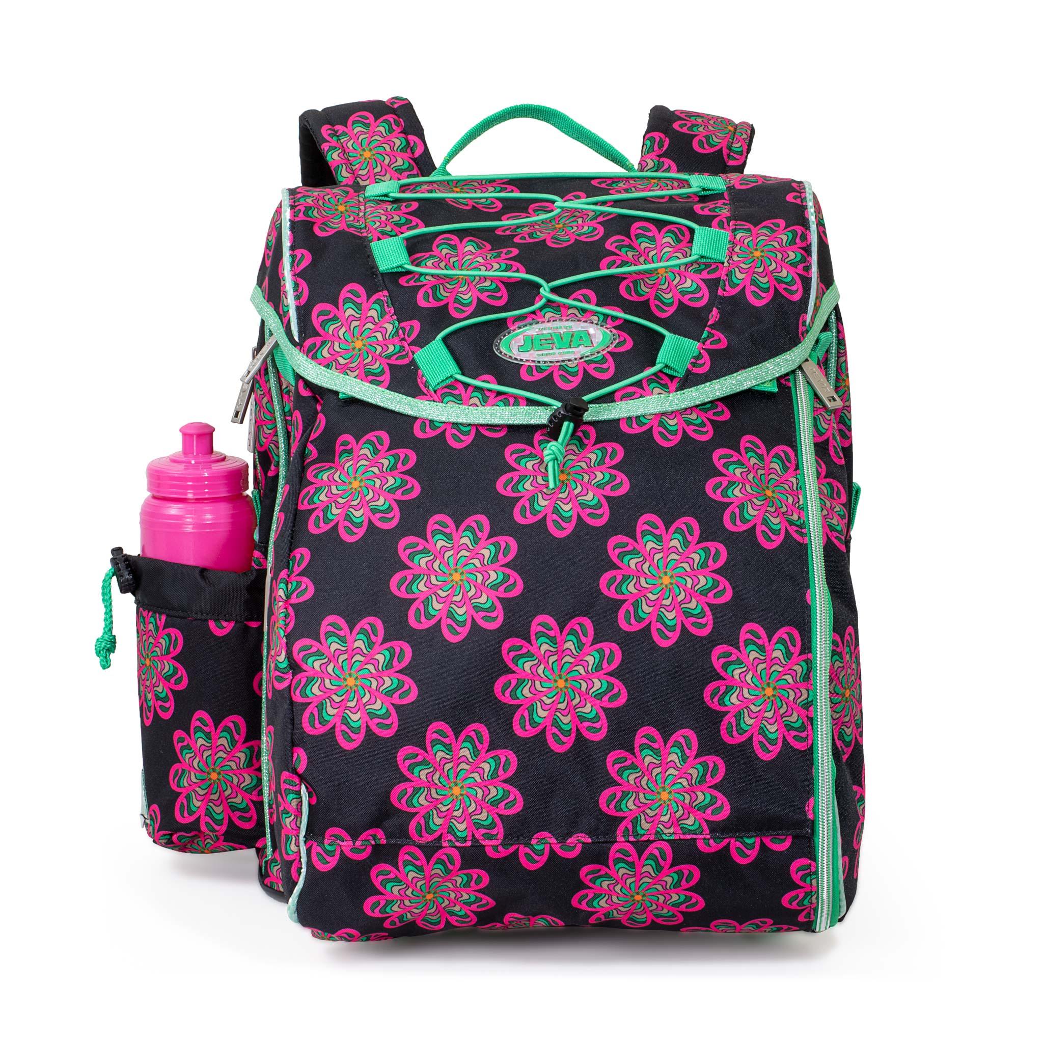 Glow INTERMEDIATE pigeskoletaske m. pink blomster