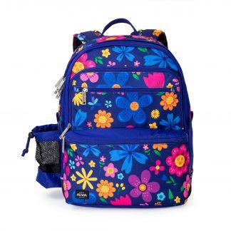 blå/blomstret skoletaske til piger i 2-5 klasse