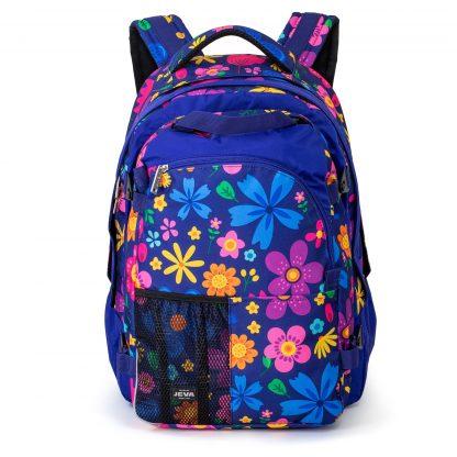 stor rygsæk til pige - blå med blomster