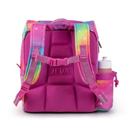 308-42: Rainbow unicorn set bagfra - ergonomisk rygstøtte