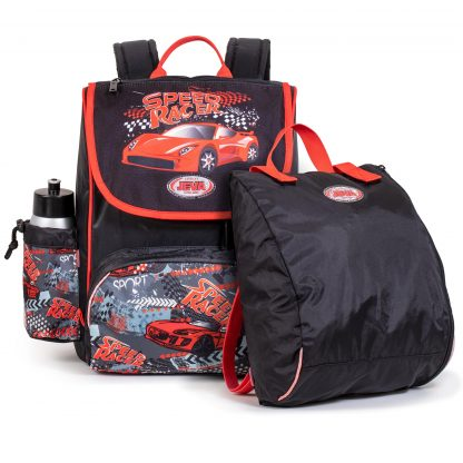 404-03: Speed Racer PRACTISED skoletasken er inklusiv gymnastikpose og drikkedunk