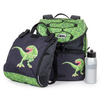 dinosaurus motiv på både skoletaske og idrætstaske