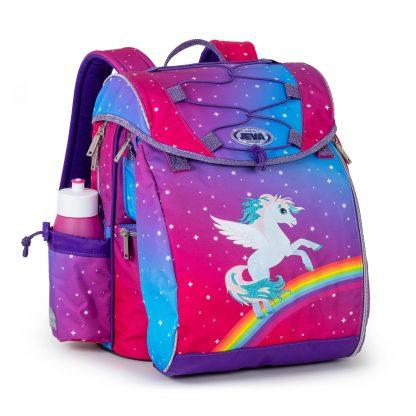 skoletaske med alicorn, regnbue og glimmer