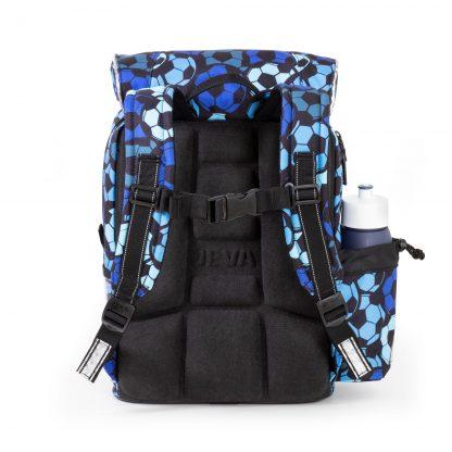 blå fodboldskoletaske med ergonomisk ryg