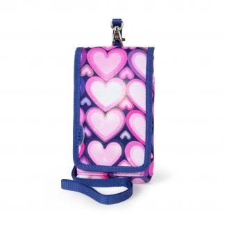 mobiltaske med lyserøde hjerter